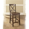 X-Back Bar Stool in Vintage Mahogany Finish with 24 Inch Seat Height. (Set of Two)