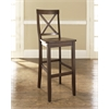 X-Back Bar Stool in Mahogany Finish with 30 Inch Seat Height. (Set of Two)