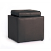 SMALL OTTOMAN W/FLIP OVER TRAY - BROWN H16""