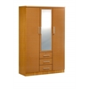 3 DOOR WARDROBE W/MIRROR - BEECH H72""