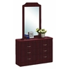 6 DRAWER DRESSER W/MIRROR - MAHOGANY H76""
