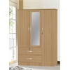 3 DOOR WARDROBE W/2 DRAWERS & MIRROR - BEECH H71""