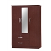 3 DOOR WARDROBE W/2 DRAWERS & MIRROR - MAHOGANY H71""