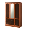3 DOOR WARDROBE W/2 DRAWERS & MIRROR - CHERRY (DPD) H72""