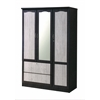 3 DOOR WARDROBE W/2 DRAWERS & MIRROR - CHOCOLATE-GREY H72""