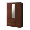 3 DOOR WARDROBE W/2 DRAWERS & MIRROR - MAHOGANY (DPD) H72""