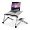 Ergonomics Aluminum Vented Cooling Holes Adjustable Multi-functional Portable Laptop Stand with Attachable/Detachable Mousepad, Silver+Silver