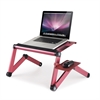 Ergonomics Aluminum Vented Cooling Holes Adjustable Multi-functional Portable Laptop Stand with Attachable/Detachable Mousepad, Pink+Pink