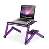 Ergonomics Aluminum Vented Cooling Holes Adjustable Multi-functional Portable Laptop Stand with Attachable/Detachable Mousepad, Purple+Purple