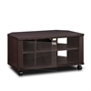 Indo  2x2 TV Stand with Double Glass Doors and Casters, Espresso