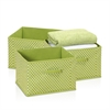 Laci Small Dot Non-Woven Fabric Soft Storage Organizer, 3-Pack, Green