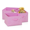 Laci Small Dot Non-Woven Fabric Soft Storage Organizer, 3-Pack, Pink