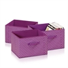 Laci Small Dot Non-Woven Fabric Soft Storage Organizer, 3-Pack, Purple