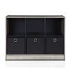 Basic 3x2 Bookcase Storage w/Bins, French Oak Grey/Black