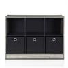Basic 3x2 Bookcase Storage w/Bins, French Oak Grey/Black