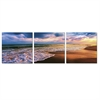SENIC Beach Sunset 3-Panel Canvas on Wood Frame, 60 x 20-in