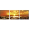 SENIC Sunrise Meadow 3-Panel Canvas on Wood Frame, 60 x 20-in