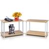 Turn-N-Tube 2-Tier Shelves/End Tables Set, Beech/White, 2 Pcs Set