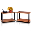 Turn-N-Tube 2-Tier Shelves/End Tables Set, Light Cherry/Black, 2 Pcs Set