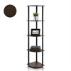 Turn-N-Tube 5 Tier Corner Display Rack Multipurpose Shelving Unit, Dark Brown Grain/Black