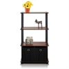 Go Green 4-Tier Multipurpose Storage Rack Shelving Unit w/Bins, Dark Cherry/Black