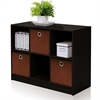 Basic 3x2 Bookcase Storage w/Bins, Espresso/Brown