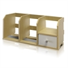 Pasir  Desk Storage Shelf w/Bin, Steam Beech/White