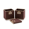 Laci  Foldable Storage Organizer with Card Display Pocket, Set of 3, Brown