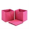 Laci  Foldable Storage Organizer with Round Ring Handle, Set of 3, Pink