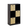 Econ Storage Organizer Bookcase with Bins, Espresso/Light Brown