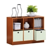 Basic 3x2 Bookcase Storage w/Bins, Light Cherry/Ivory