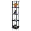 Turn-N-Tube 5-Tier Corner Square Rack Display Shelf, Black/Grey