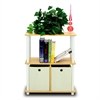 Turn-N-Tube Go Green 3-Tier Multipurpose Storage Rack Shelving Unit w/Bins, Beech/White