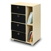 Multipurpose Storage Cabinet w/4 Bin-Type Drawers, Steam Beech/Black