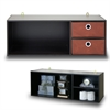 Wall-mounted Storage or Desk Hutch with 2 Bin Drawers, Espresso/Brown