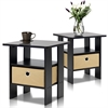 Espresso Petite End Table Bedroom Night Stand, Set of Two