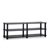 TST No Tools 3-Tier Wide Shoe Storage Rack, Dark Cherry/Black