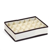 Non-Woven Fabric 4x6 Soft Storage Organizer, Ivory w/Mid Brown Trim