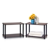 Turn-N-Tube 2-Tier Shelves/End Tables Set, Set of Two, Dark Brown