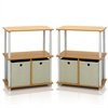 Go Green 3-Tier 2-Bins Multipurpose Storage Shelf, Set of Two