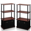 Go Green 4-Tier Multipurpose Storage Rack Shelving Unit w/Bins, Set of 2