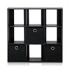 Simplistic 9-Cube Organizer with Bins, Espresso/Black