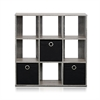 Simplistic 9-Cube Organizer with Bins, French Oak Grey/Black