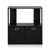 Simplistic 2-Tier Organizer with Bin Drawers, Espresso/Black