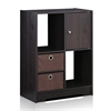 Espresso Living Storage Cabinet with Bins and Door, Espresso/Dark Brown