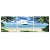 SeniA Coconut Tree Scenery 3-Panel MDF Framed Photography Triptych Print, 48 x 16-inch
