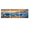 SeniA Jokulsarlon Sunset 3-Panel MDF Framed Photography Triptych Print, 48 x 16-inch