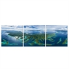 SeniA Seventy Islands 3-Panel MDF Framed Photography Triptych Print, 48 x 16-inch