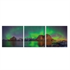 SeniA Aurora in Iceland 3-Panel MDF Framed Photography Triptych Print, 48 x 16-inch