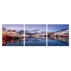 SeniA Harbour at Dusk 3-Panel MDF Framed Photography Triptych Print, 48 x 16-inch